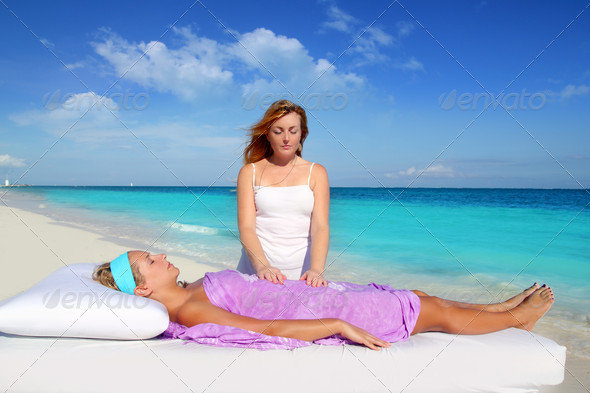 Stock Photo - PhotoDune Mayan reiki massage in Caribbean beach woman 1323525