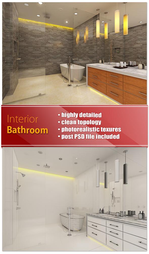 Interior Bathroom - Rustic North - 3DOcean Item for Sale
