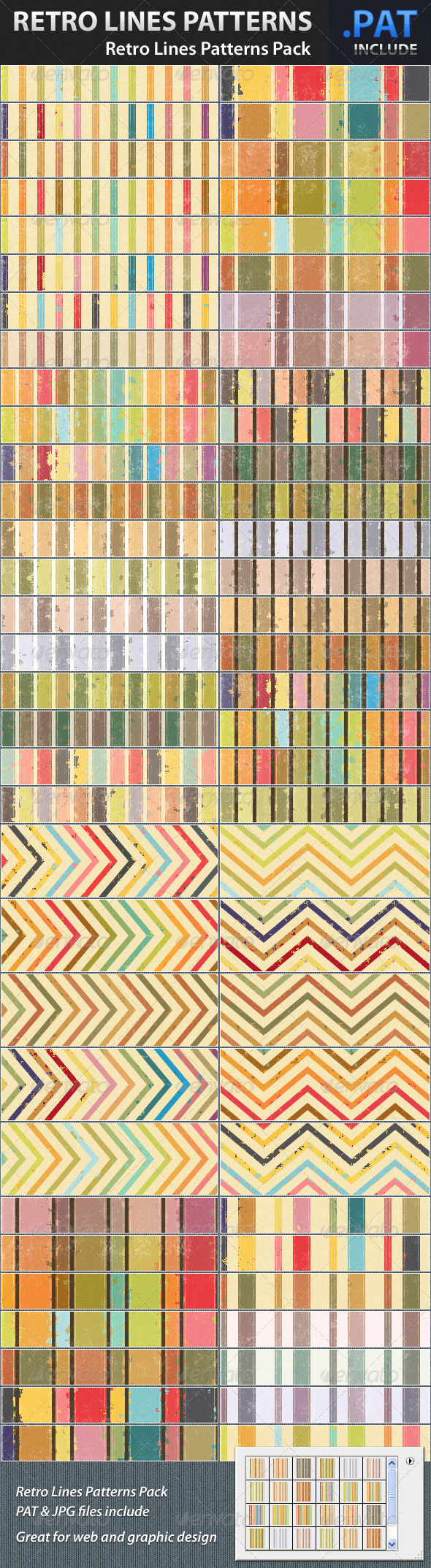 Retro Lines Patterns Pack - Art Textures