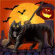 Halloween Scared Cat and  Mouse