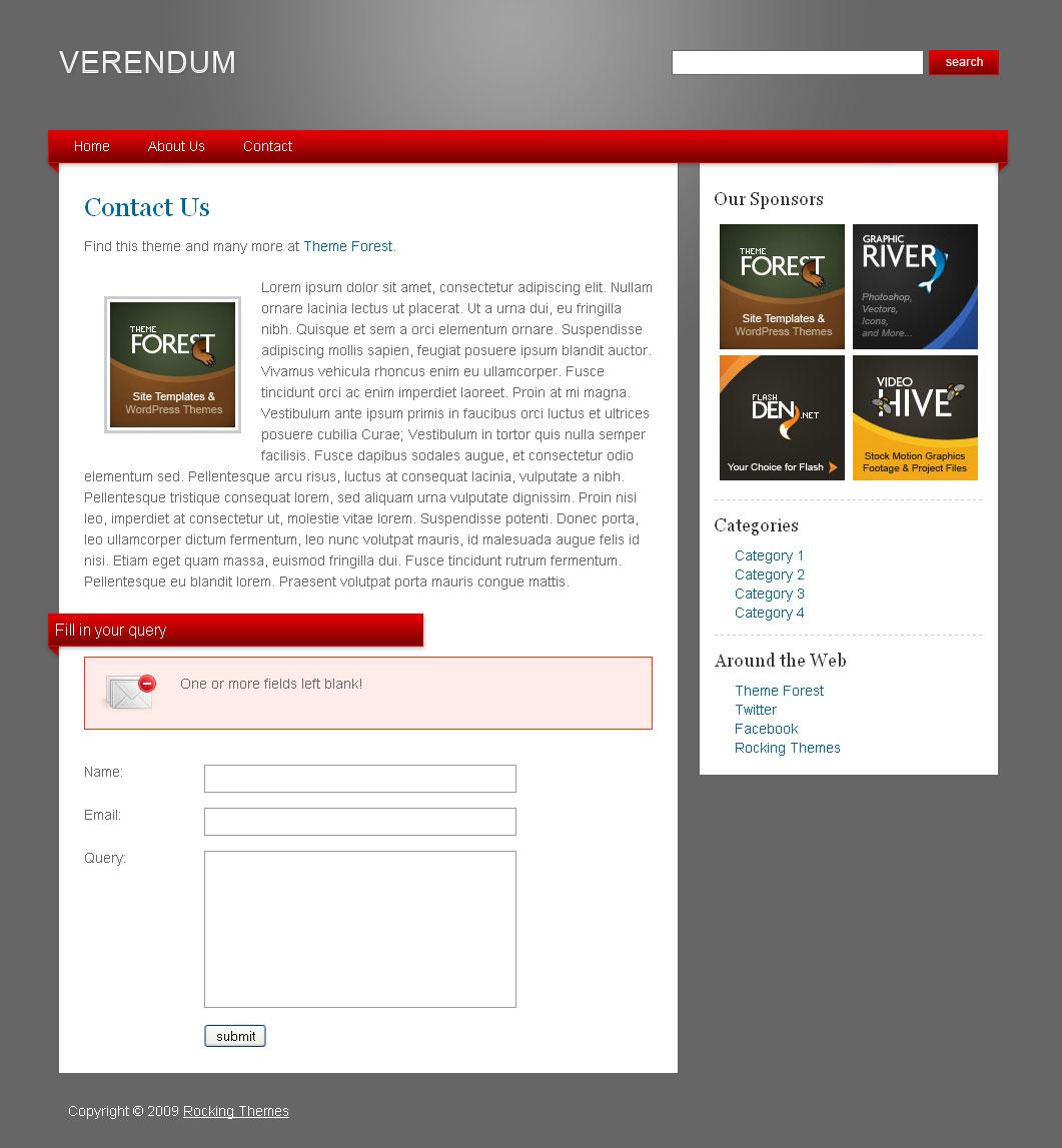Verendum HTML Business Portfolio - Verendum HTML Business Theme - Contact Form invalid