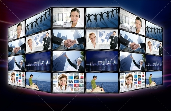 PhotoDune Futuristic tv video news digital screen wall 1325145