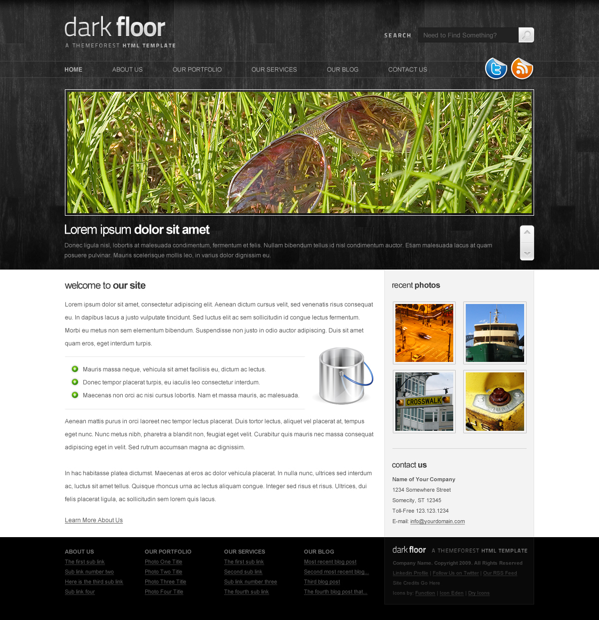 Dark Floor HTML Template - 6 Pages, 7 Colors