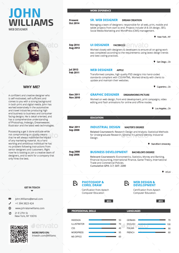 Clean resume vol 1 by paolo6180 graphicriver for Creative interior design cover letter