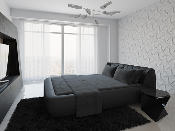 Realistic Interior Scene + PSD File - Bedroom 001 - 3DOcean Item for Sale
