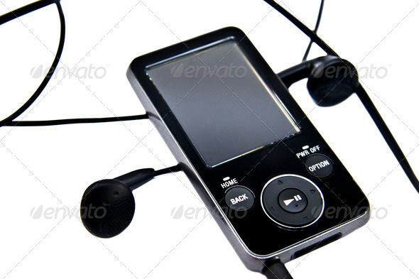 mp3 player and headphones isolated on white background - Stock Photo - Images