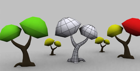Low Poly Color Tree - 3DOcean Item for Sale