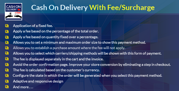 Prestahop Cash On Delivery With Fee/Surcharge Module