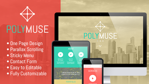 Polymuse - One Page Parallax Muse Template