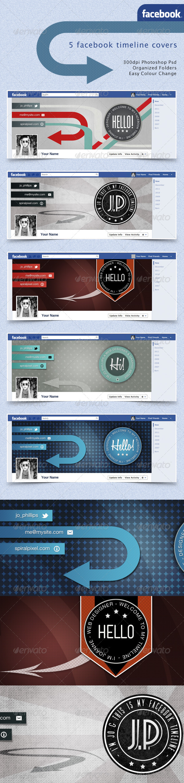 Facebook Timeline Covers Retro Badges