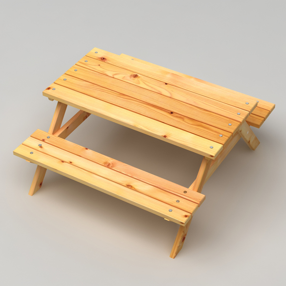 Realistic Wooden Picnic Table - 3DOcean Item for Sale