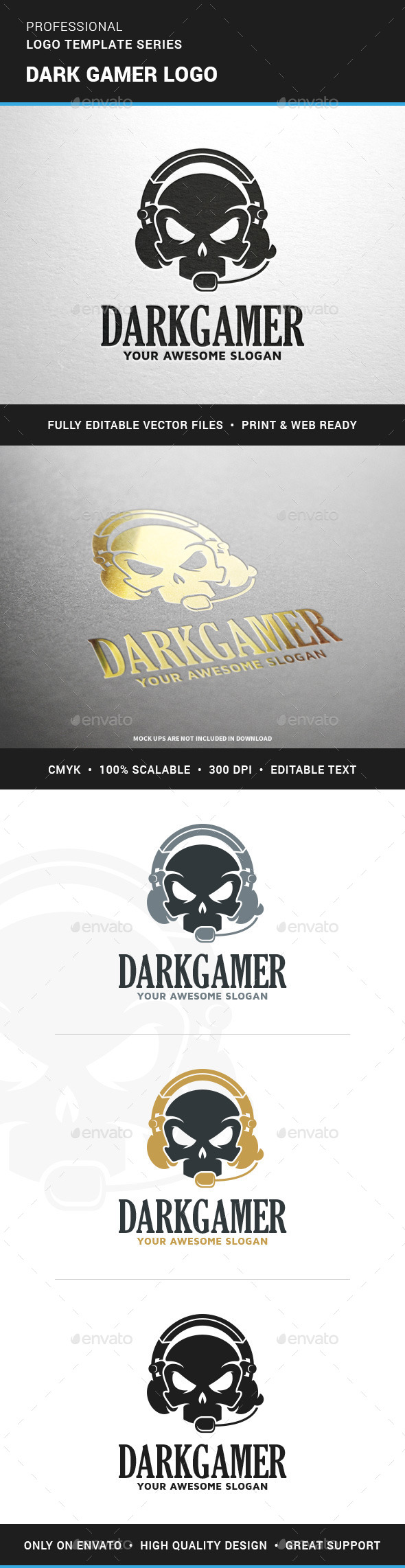 Dark Gamer Logo Template