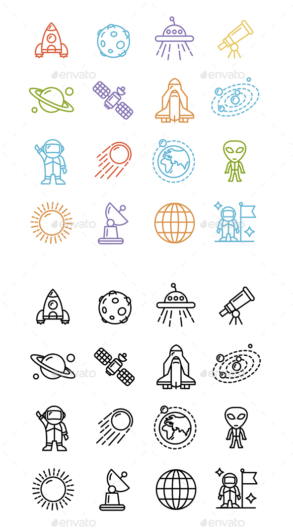 Spase Outline Icons Set