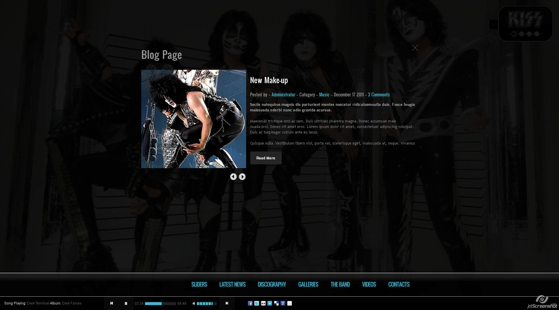 Kiss - Band-Template - HTML5 - CSS3 - Blog Page