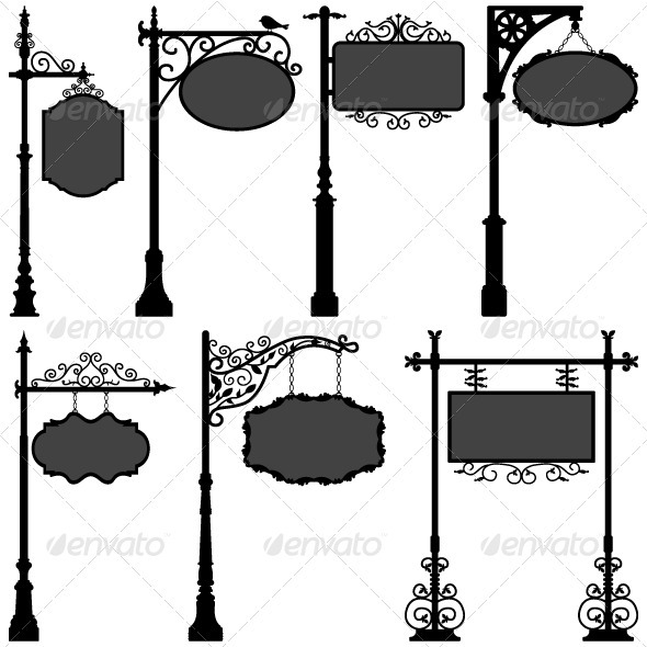 GraphicRiver Signage Shop Sign Route Pole Direction Plate 1329713