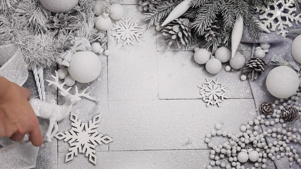 Christmas a Background in Silver and White