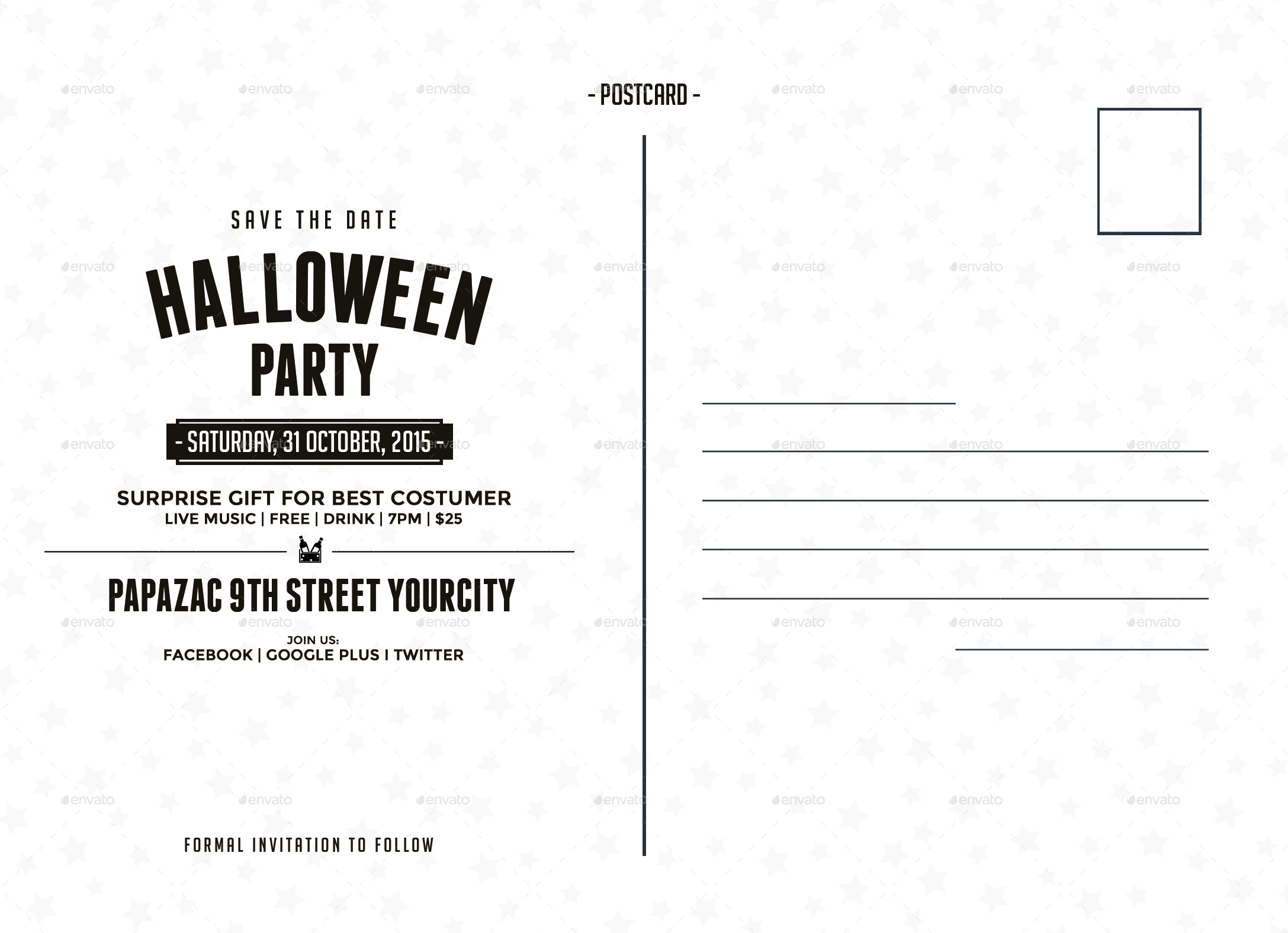 Halloween postcard by nishamehta graphicriver for Back of postcard template photoshop