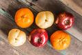 fruit arranged on wood