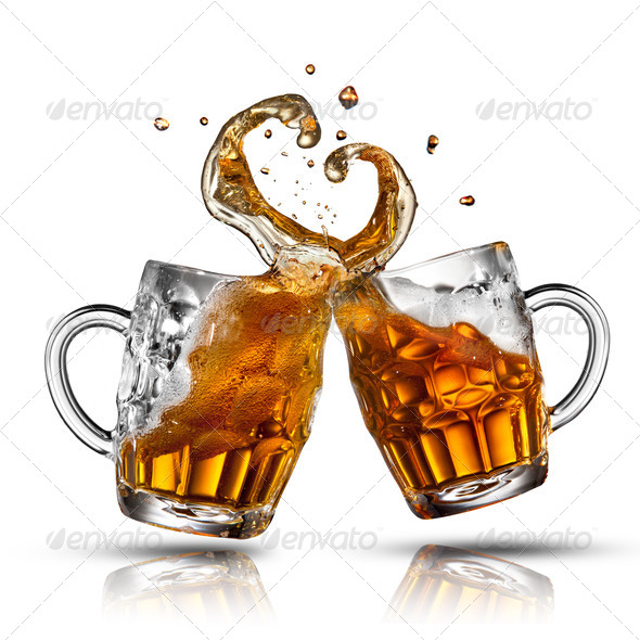 Beer splash in shape of heart isolated on white - Stock Photo - Images