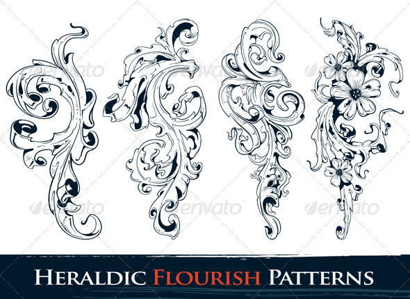 GraphicRiver Set of Heraldic Flourish Patterns 159349