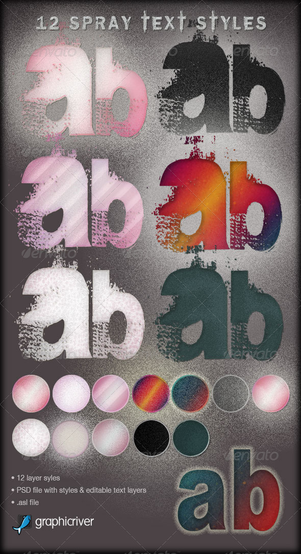 GraphicRiver 12 Spray Effect Text Layer Styles 159376