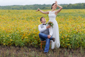 Happy moment, wedding day of young newlywed couple.