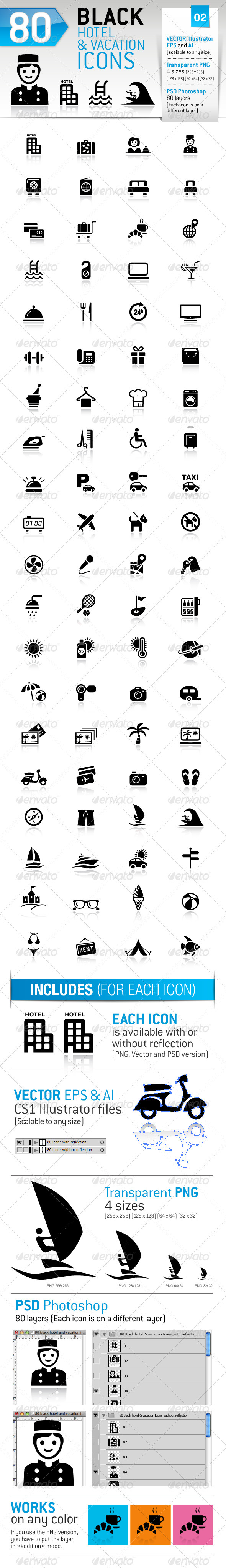 80 Black Hotel And Vacation Icons - Icons