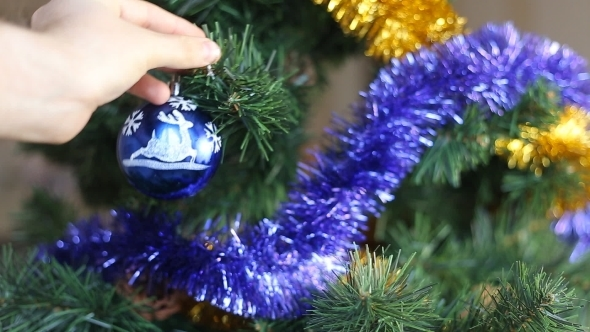 Christmas Decoration Blue And Yellow Balls