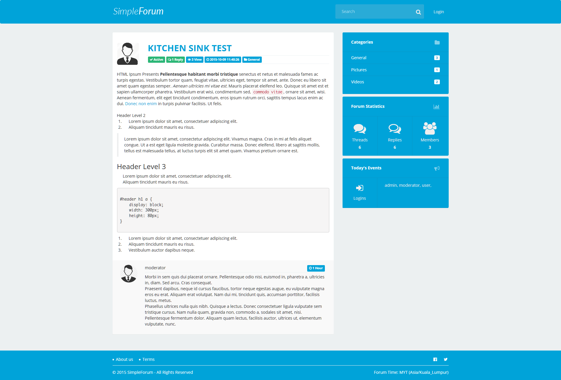 simple php page template - simple forum responsive bulletin board by tecdiary