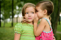 Two twin little sister girls whisper in ear - PhotoDune Item for Sale