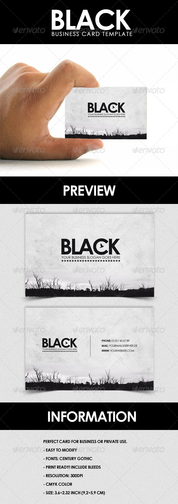 GraphicRiver Black Business Card Template 159524