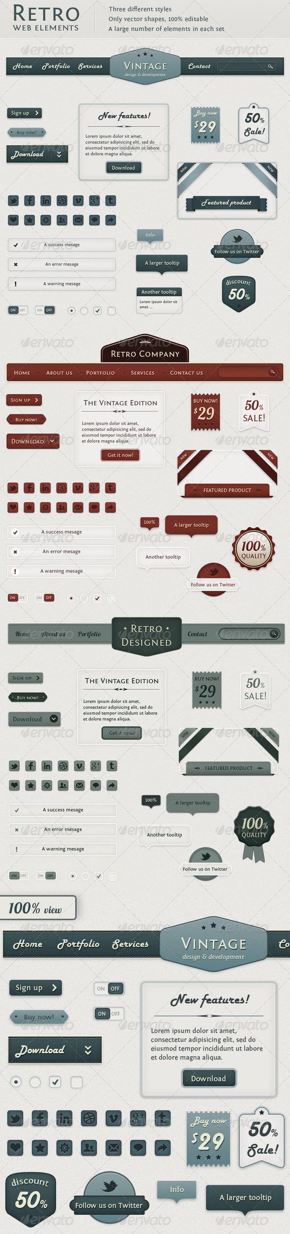 GraphicRiver Retro Web Elements Vintage Touch 1333590
