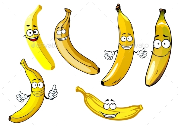Funny Cartoon Yellow Banana Fruits