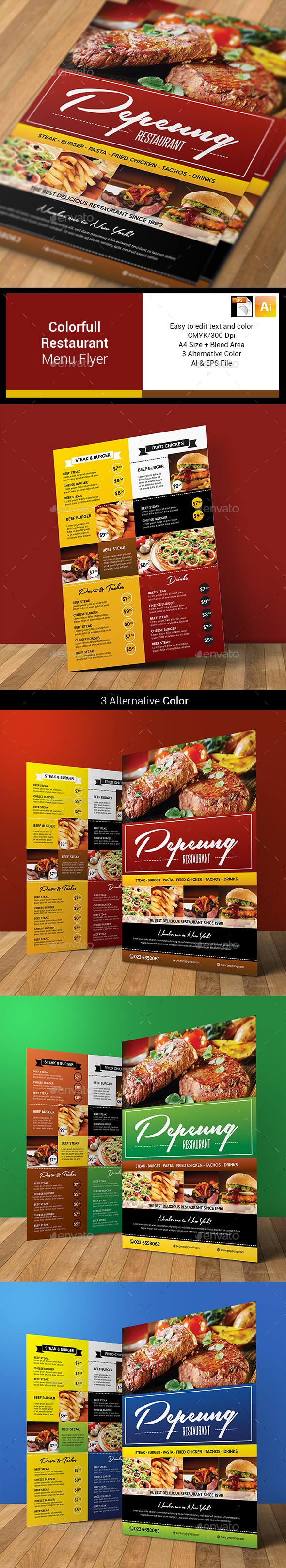 Colorfull Restaurant Menu Flyer