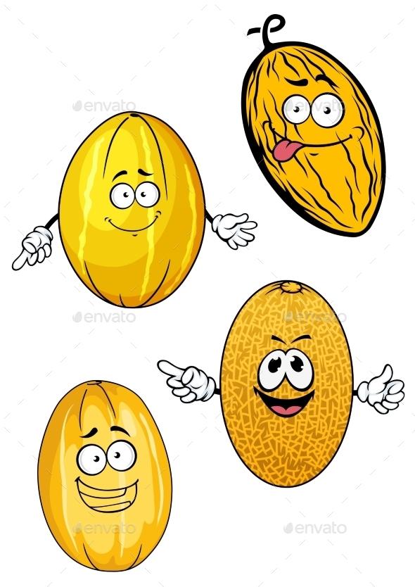 Ripe Yellow Cartoon Melon Fruits