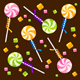Candy Lollipops Background Pattern. Vector