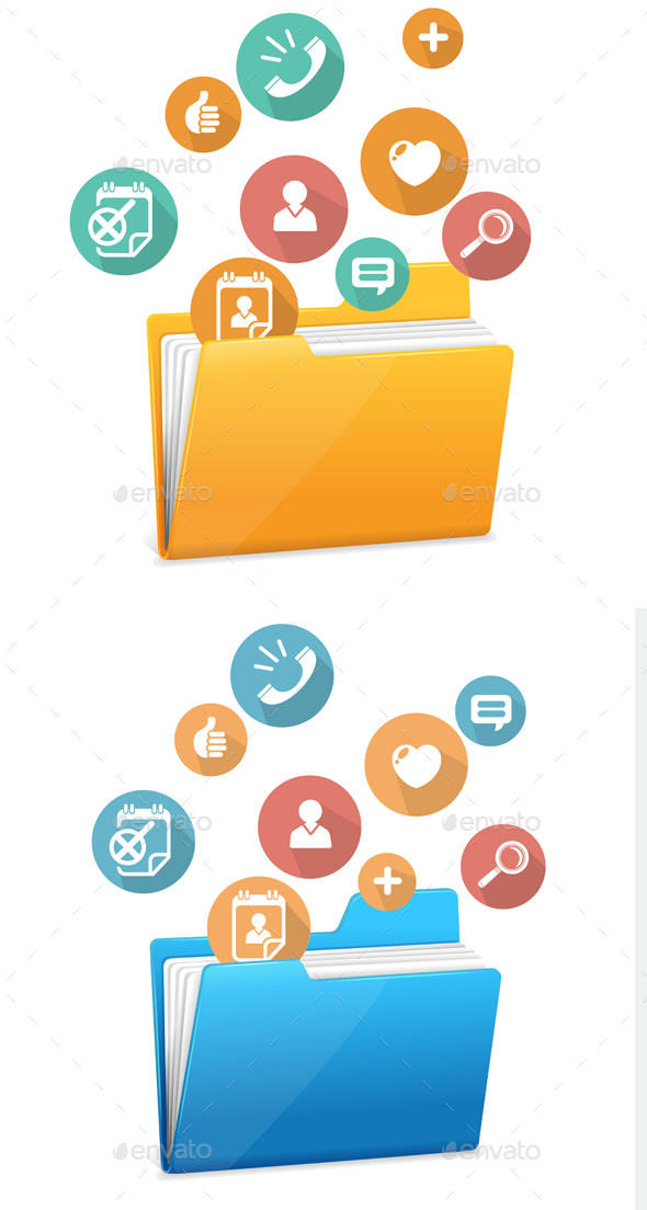 File Folder Icon and Flat Icons. Vector