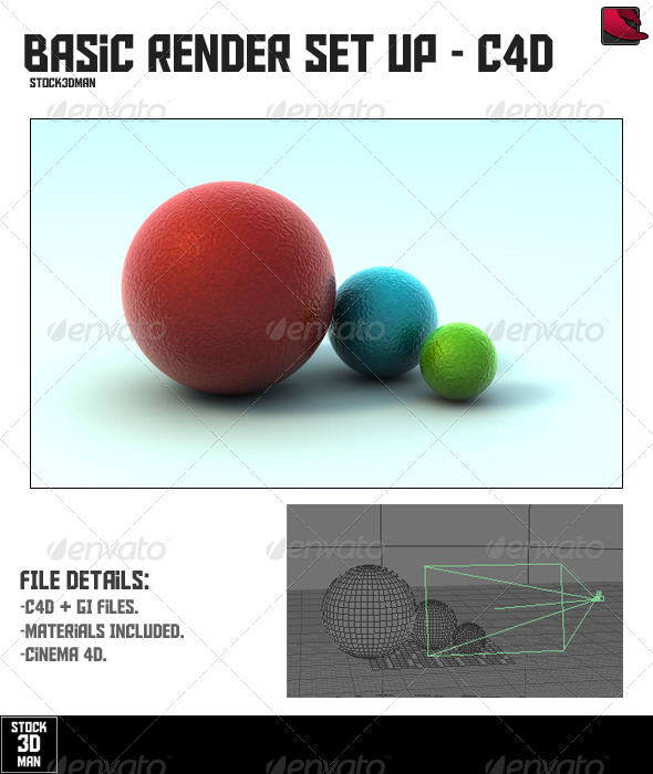Basic Cinema 4D Render Set Up - 3DOcean Item for Sale