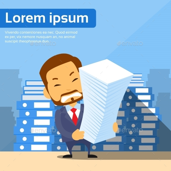 Businessman with Stack of Paper Documents