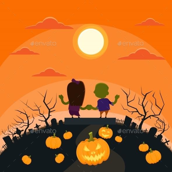 Halloween Zombie Couple in Cemetery