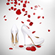 High-Heeled Shoes and Rose Petals