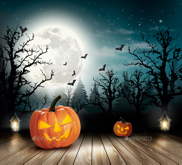Holiday Halloween Background With Pumpkins