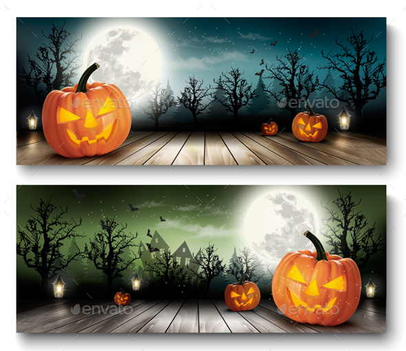 Two Holiday Halloween Banners With Pumpkins