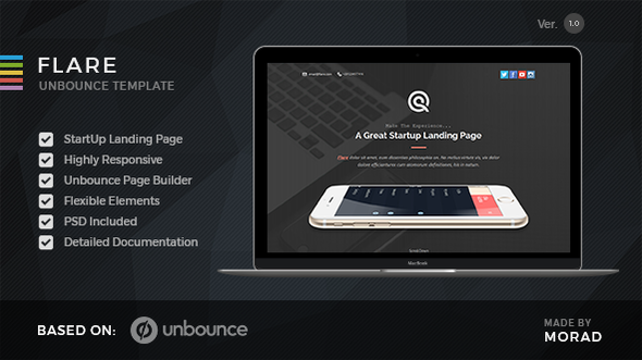 Flare - Unbounce Startup Landing Page