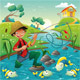 Cartoon scene with fisherman - GraphicRiver Item for Sale