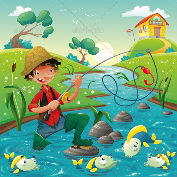 GraphicRiver Cartoon scene with fisherman 159783