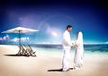 Couple Marriage Wedding Beach Party Romance Concept