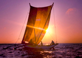 Fishermen Catamaran Sunset Seascape Sailboat Ripple Concept
