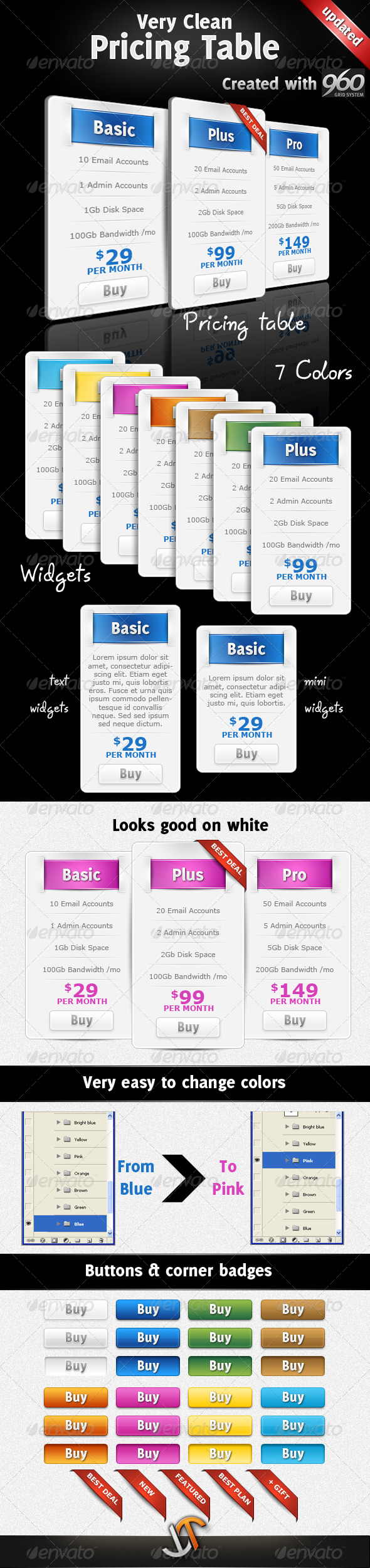 GraphicRiver Very Clean Pricing Table with Widgets and 7 Colors 134695