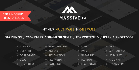 20. Massive - Responsive Multi-Purpose HTML5 Template
